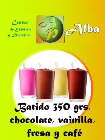 Batido choc., vainilla, fresa y café 350 grs